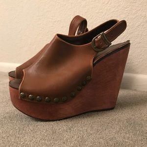Jeffrey Campbell Wood and Leather Wedges